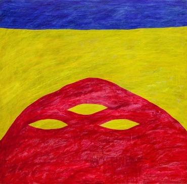 陳餘生,紅三洞,塑膠彩畫布,122 x 122厘米,1989