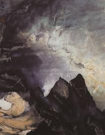 劉國松 屹立與流動之間 60.2 x 46.6厘米 水墨設色紙本 1976