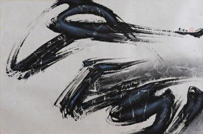 劉國松 風掃過 58.5 x 87.5厘米 水墨設色紙本 1964