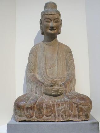 六世紀後期北魏河南省鞏縣石窟石灰岩如來坐像。