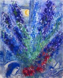 馬克‧夏加爾 窗前的大束紫色劍蘭 Marc Chagall Large bouquet of violet gladioli in front of a window c. 1958–60 Gouache and charcoal on paper H: 61 cm, W: 49.5 cm Private collection © ADAGP, Paris - SACK, Seoul, 2018, Chagall ®