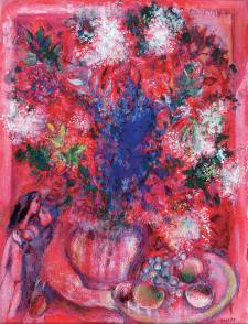 馬克‧夏加爾 紅花 Marc Chagall The Red Flowers 1950 Gouache on paper H: 65 cm, W: 50 cm Private collection © ADAGP, Paris - SACK, Seoul, 2018, Chagall ®