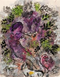 馬克‧夏加爾 花叢中男孩 Marc Chagall Boy among flowers 1955 Gouache, watercolour and India ink on Japan paper H: 63 cm, W: 48.5 cm Private collection © ADAGP, Paris - SACK, Seoul, 2018, Chagall ®
