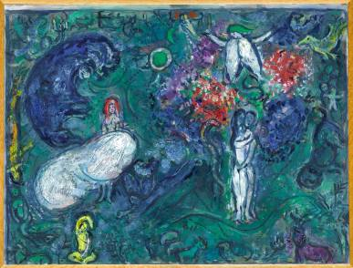 馬克‧夏加爾 天堂 Marc Chagall Paradise 1961 Oil on hardboard H: 43.5 cm, W: 58 cm Musée National Marc Chagall, Nice © RMN-Grand Palais (Musée national Marc Chagall) / Gérard Blot / ADAGP, Paris - SACK, Seoul, 2018.
