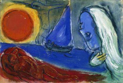 馬克‧夏加爾 在達蒙太陽下的藍船 Marc Chagall Blue Boat in the Sun, Le Dramont 1951 Watercolour, gouache and ink on paper mounted on wood H: 39.2 cm, W: 57.8 cm Private collection © ADAGP, Paris - SACK, Seoul, 2018, Chagall ®