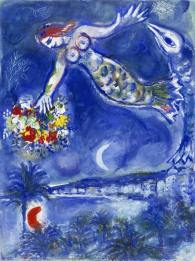 馬克‧夏加爾 《美人魚與魚》水粉彩初稿(《尼斯與蔚藍海岸》,CS 28) Marc Chagall Preparatory Gouache for Siren and Fish (Nice et la Côte d'Azur, CS 28) 1956–60 Gouache and pastel on paper H: 77 cm, W: 57 cm Private collection © ADAGP, Paris - SACK, Seoul, 2018, Chagall ®