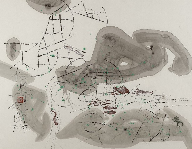 古干,《山高水長》,1999,宣紙上墨彩,69 x 88 cm;圖片由藝術家及藝倡畫廊提供 Gu Gan, Mountain Stands Water Moves, 1999, Chinese ink and colour on rice paper, 69 x 88 cm; Courtesy to the artist and Alisan Fine Arts Gallery