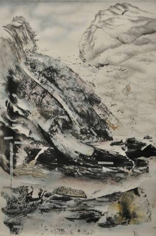 At Sea 在海上 Li Fung Chun 李鳳珍 Ink on paper 45 x 67 Bronze Award - Open Category: Abstract