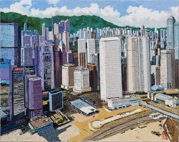 龎均,《中環之林》,2018,布面油畫,72.5 x 91 cm;圖片由藝術家及置地公司提供 Pang Jiun, Central, 2018, Oil on canvas, 72.5 x 91 cm; Courtesy to the artist and HongKong Land.