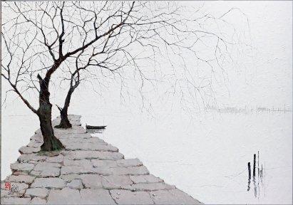 龎均,《白居易之足跡》(蘇州明月灣),2013,布面油畫,210 x 300 cm;圖片由藝術家及置地公司提供 Pang Jiun, The Footprints of Bai Juyi (Su Zhou Moon Bay), 2013, Oil on canvas, 210 x 300 cm; Courtesy to the artist and HongKong Land.