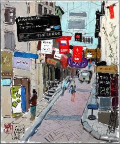 龎均,《香港蘭桂坊》,2008,布面油畫,72.7 x 60.6 cm;圖片由藝術家及置地公司提供 Pang Jiun, Lan Kwai Fong, 2008, Oil on canvas, 72.7 x 60.6 cm; Courtesy to the artist and HongKong Land.