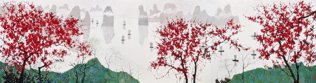 龎均,《一江春水千帆過》,2018,布面油畫,200 x 750 cm;圖片由藝術家及置地公司提供 Pang Jiun, A Thousand Sails on the Spring Tide, 2018, Oil on canvas, 200 x 750 cm; Courtesy to the artist and HongKong Land.
