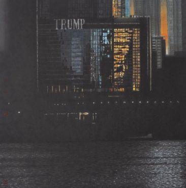 《芝加哥的夕陽》- 黃孝逵 Sunset in Chicago - Wong Hau Kwei 90x90cm