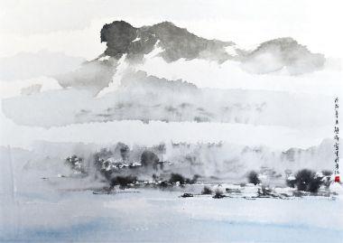 獅山雲霧 -熊海 Hung Hoi 2018 29.5x41cm 水墨設色紙本,印:海