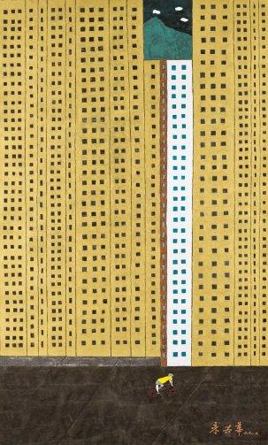 朱興華,尺金寸土,2017,水墨設色紙本,163.5 x 98 cm;圖片由藝術家及漢雅軒提供 CHU Hing Wah, City of Gold, 2017, Ink and Colour on Paper, 163.5 x 98 cm; Image Courtesy of the Artist and Hanart TZ Gallery