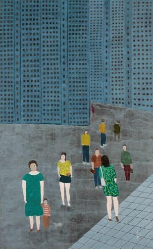 朱興華,五十年的變,1994,水墨設色紙本,148 x 92 cm;圖片由藝術家及漢雅軒提供 CHU Hing Wah, 50 Years of Change, 1994, Ink and Colour on Paper, 148 x 92 cm; Image Courtesy of the Artist and Hanart TZ Galler