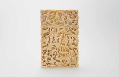 牙雕人物名片盒 清十九世紀