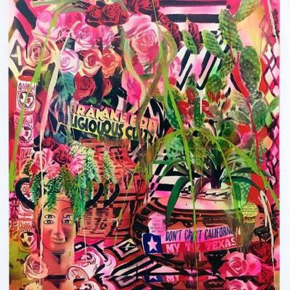 "Rosson Crow Don't California My Texas Acrylic, spray paint, photo transfer, oil and enamel on canvas 48"" X 60"" 2017"