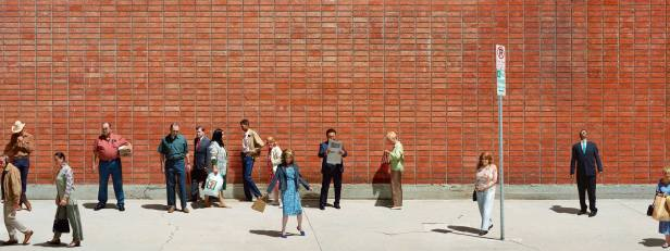 ALEX PRAGER, See's Candies, Payless, Supercuts 1, 2015, archival pigment print, 48 x 127.45 inches (print), 121.9 x 323.7 cm 49.88 x 129.5 x 2.5 inches (framed), 126.7 x 328.9 x 6.4 cm; Courtesy Alex Prager Studio and Lehmann Maupin, New York and Hong Kong.