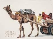 沈平,印度駝車人家,水彩紙本 (2014)