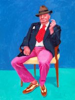 David Hockney, Barry Humphries, 26th, 27th, 28th March, 2015. Acrylic on canvas. 21.92 x 91.44 cm. © David Hockney. Photo credit: Richard Schmidt.