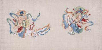 晚唐伎樂菩薩二身圖 設色絹本立軸,80.3(縱) x 162.4(橫)釐米 1941-43年