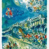 馬克‧夏加爾,花朵的戰爭(《尼斯與蔚藍海岸》,CS 33),夏加爾指導,查理.索里耶雕石版畫(CS 33),畫家印本III/X,署名,73 x 52厘米(頁),1967年,私人收藏