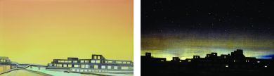 Twinkling City No.20 2018 25 x 45 x 8 cm Oil on canvas and customized LED system