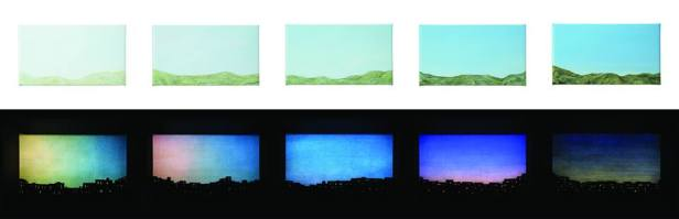 Twinkling City - Mountain I 2018 25 x 45 x 8 cm x set of 5pc Oil on canvas and customized LED system