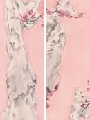 羅穎,《清供系列十七、十八》,2014,水墨設色絹本,雙聯畫:每幅78 x 29 cm;圖片由藝術家及漢雅軒提供 Luo Ying, Elegant Offering Series No. 17 and No. 18, 2014, Ink and Colour on Silk, Diptych: 78 x 29 cm each; Courtesy to the artist and Hanart TZ Gallery