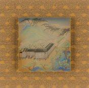 羅穎,永福八景之《卓筆停雲》,2017,水墨設色絹本,27 x 26 cm;圖片由藝術家及漢雅軒提供 Luo Ying, Eight Scenic Views of Yongfu Monastery: Clouds at Rest, 2017, Ink and Colour on Silk, 27 x 26 cm; Courtesy to the artist and Hanart TZ Gallery