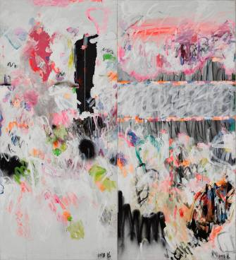Yang Shu WT 2018, 2018 Mixed media, acrylic on canvas, in two parts 220 x 200 cm (86 5/8 x 78 3/4 in.)