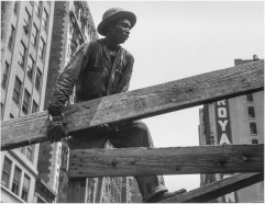 Roy DeCarava, Construction worker, beam, 1952; Courtesy of The Estate of Roy DeCarava and David Zwirner.
