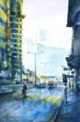 趙綺婷,工業區,2018,水彩紙本,38 x 56 cm;圖片由藝術家及數碼港艾美酒店提供 Chiu Yee Ting, The Industrial District, 2018, Watercolor on paper, 38 x 56 cm; Courtesy of the artist and Le Méridien Cyberport