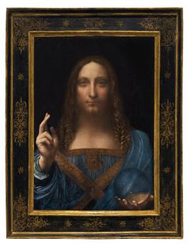 Leonardo da Vinci (1452-1519) Salvator Mundi oil on panel 25 7/8 x 18 in. (65.7 x 45.7 cm.) Painted circa 1500. Courtesy to Christie's