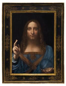 Leonardo da Vinci (1452-1519) Salvator Mundi oil on panel 25 7/8 x 18 in. (65.7 x 45.7 cm.) Painted circa 1500. Courtesy to Christie's