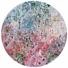 Title: Dream Jungle CHEN Che Material: Mixed media on linen Year created:2018 Size:152cm(diameter)