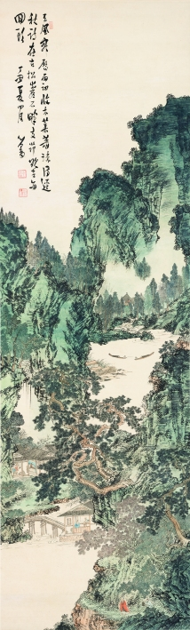 溥儒,《青綠山水》,1937,設色紙本,309 x 94 cm;圖片由梅潔樓藏畫及都爹利會館提供 Pu Ru, Landscape in Blue-and-Green Style, 1937, ink and colour on paper, 309 x 94 cm; Courtesy to Duddell's and M K Lau