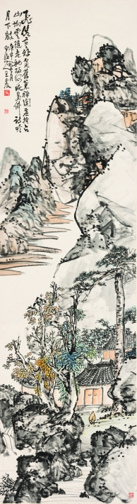王震,《島佛詩吟月下敲》,1920,設色紙本,272 x 75 cm;圖片由梅潔樓藏畫及都爹利會館提供 Wang Zhen, Moonlight Chanting, Poetry Reading and Temple Block Beats, 1920, ink and colour on paper, 272 x 75 cm; Courtesy to Duddell's and M K Lau Collection