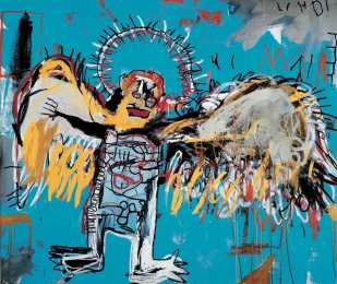 Untitled (Fallen Angel), Jean-Michel Basquiat, 1981, Acrylic and oil stick on canvas, 167.6 x 198.1 cm, Courtesy to the artist ©Jean-Michel Basquiat