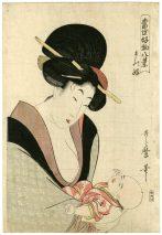 Kitagawa Utamaro (1753-1806) Beauty and Baby 1803 Woodblock print H. 38.5 x W. 26 cm Shukado, Tokyo