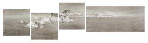 Koon Wai-bong (b. 1974) Timbuktu 2017 Ink on paper, tetraptych H. 51 x W. 51 cm x 3 H. 51 x W. 114 cm