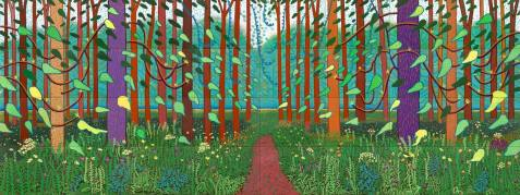 The Arrival of Spring in Woldgate, East Yorkshire in 2011 (twenty eleven) 2011 Oil on 32 canvases 365.8 x 975.4 cm ; each 91.4 x 121.9 cm Courtesy of the artist © David Hockney