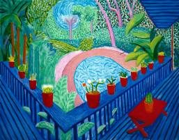 Red Pots In The Garden 2000 Oil on canvases 152.4 x 193 cm Courtesy of the artist © David Hockney