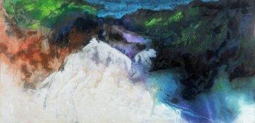 朱楚珠,《冰湖景色》,1992年,水墨粉彩紙本橫幅,88 x 176.5 厘米;圖片由藝術家及香港大學美術博物館提供 Nancy Chu Woo, Alpine Lake, 1992, Horizontal scroll, ink and gouache on paper, 88 x 176.5 cm; Courtesy to the artist and UMAG