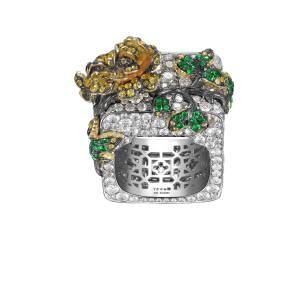 Royal Porcelain Series - Ring Brilliant cut diamonds, tsavorites, yellow sapphires set in 18k white gold 2017 Yewn, Hong Kong