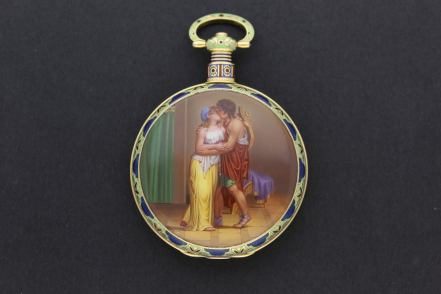 Enamel pocket watch by H. Moser and Cie Le Locle, 1830 Made for the Chinese market, the scene depicts 'Apollo's Embrace' and is attributed to Jean François Victor Dupont Somlo Antiques, London
