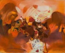 Chu Teh-Chun, Ton Orange, 1991, Oil on canvas, 54 x 65 cm; Courtesy to the artist and Opera Gallery