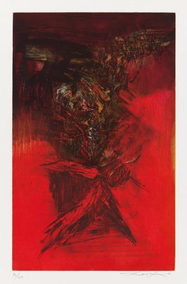 Zao Wou-ki, Canto Pisan (Portfolio), 1972, Etching, 52 x 32,6 cm; Courtesy to the artist and Opera Gallery.