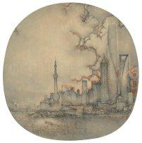 Shanghai Xu Jianguo 2016   Diametre 38 cm   Chinese ink & colour on silk